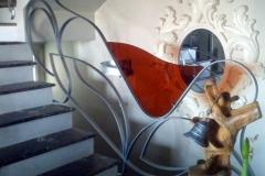 Corrimano scale in metallo con inserto in vetro colorato